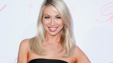 Stassi with a nude lip and a sleep blowout with a side part