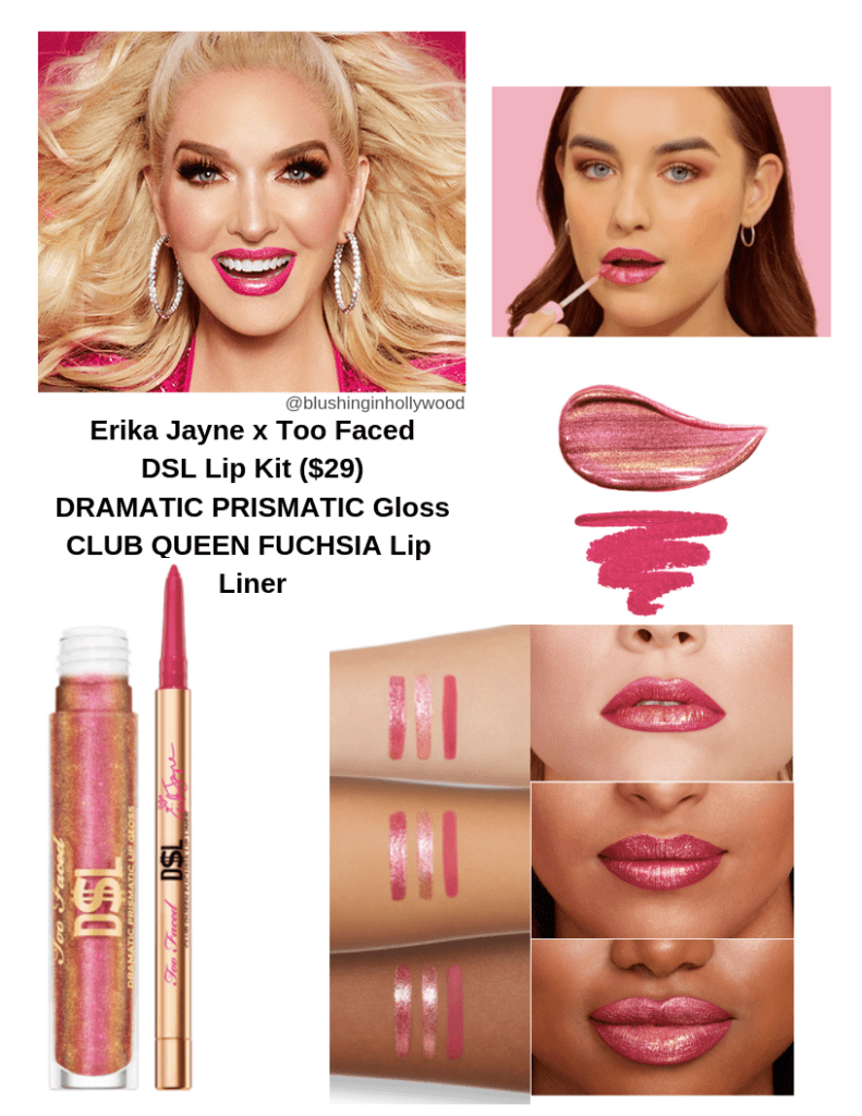 Erika Jayne x Too Faced DSL Lips lip kit with swatches. All Photos from TooFaced.com
