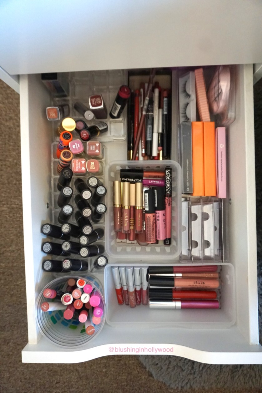 IKEA Alex drawer with makeup organization - my lips & lashes drawer.