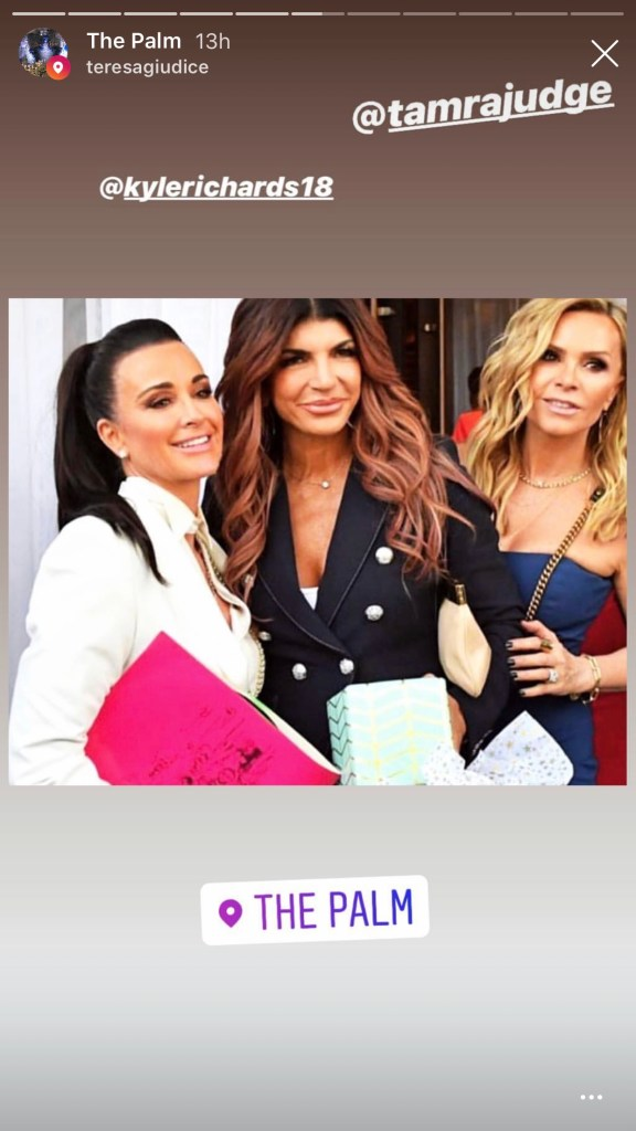 Kyle Richards, Teresa Giudice, and Tamra Judge at The Palm Restuarant in Beverly Hills for Andy Cohen's baby shower