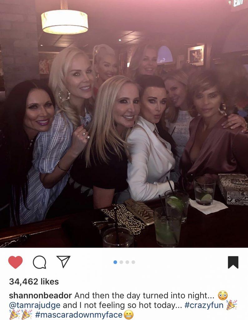 Leeanne Locken, Kameron Westcott, Erika Jayne, Shannon Beador, Rebecca Romijn, Kyle Richards, Ramona Singer, and Lisa Rinna at Craigs