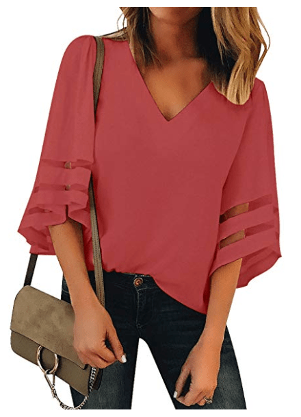 3:4 Sleeve Loose V Neck Top with Mesh Stripes on Sleeves in Tea Rose