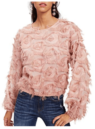 Blush Pink Long Sleeve Feather Top
