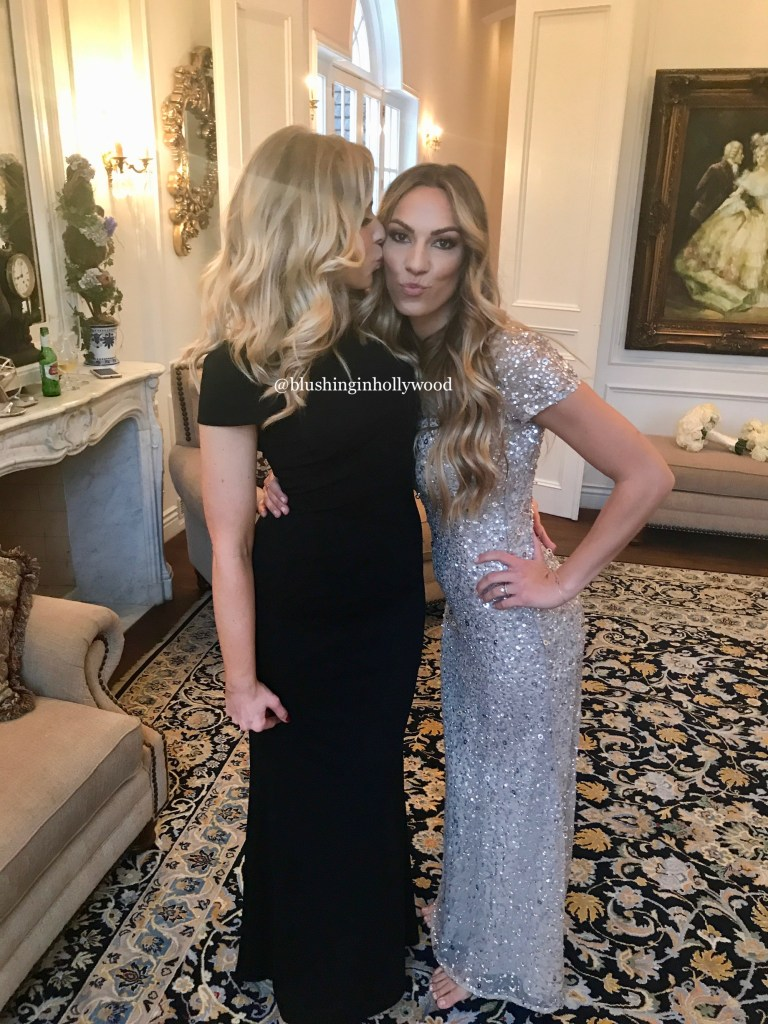 Me with a Medium Hair Long Loose Old Hollywood Waves Hairstyle with Girl Get Glamorous Hair Extensions and my sister Hannah with her long big curls with center part wedding hairstyle