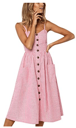 Pink and White Stripe Seerksucker Button Down Spaghetti Strap Midi Dress with Sweetheart Neckline in Light Pink