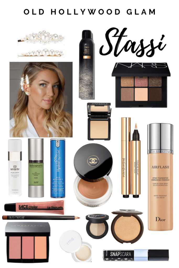 Stassi Schroeder's Old Hollywood Glam Look with Pearl Hair Clips from her Book Next Level Basic Book Tour