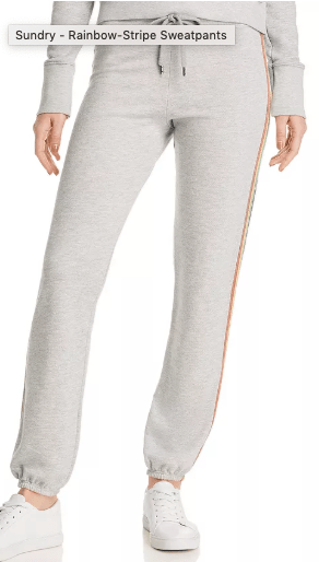Sundry Grey sweatpants with rainbow stripe on side as seen on Denise Richards