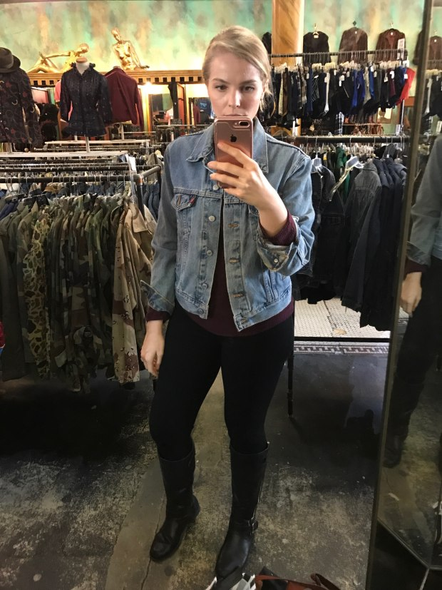 Found the jean jacket of my dreams at a Buffalo Exchange in the Haight:Ashbury area of San Francisco
