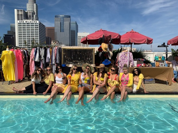 All the girls in yellow at Jessica's bachelorette party at The Freehand in DTLA