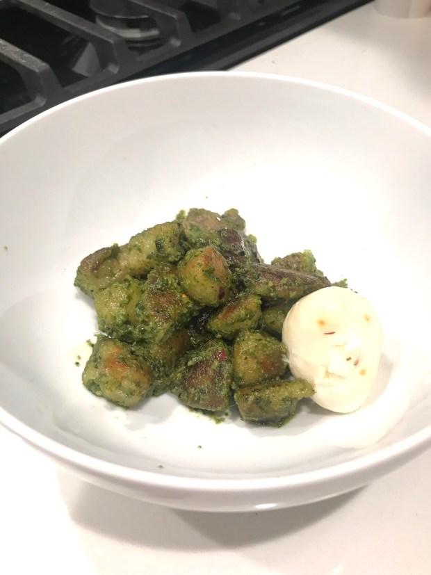 Trader Joe's Cauliflower Gnocchi with Vegan Pesto and Mozzarella