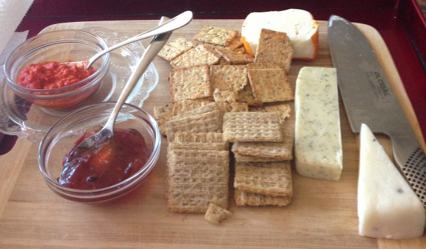 Trader Joe's Cheese Plate with Roasted Red Pepper Dip, Pepper Jelly, Bite Sized Everything Crackers, Havarti with Dill, and Italian Truffle Cheese