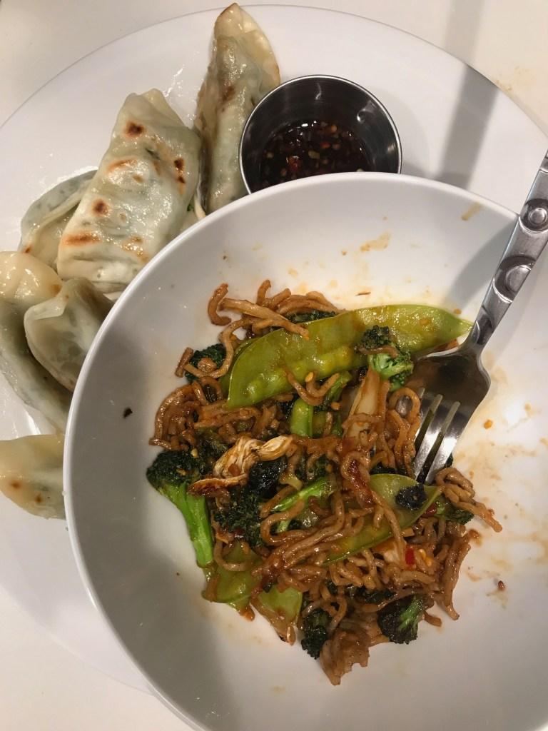 Trader Joe's frozen vegetable gyozas and vegetable and soba noodle stir fry
