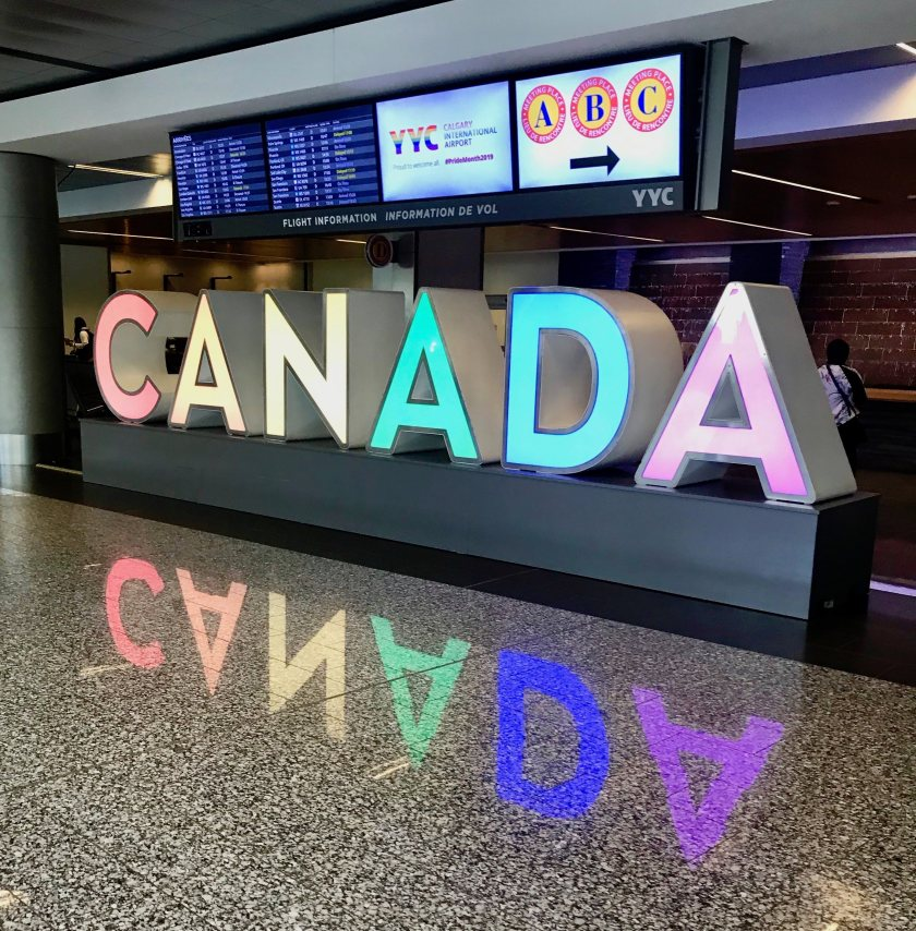 Canada sign at the Calgary airport in Alberta, Canada