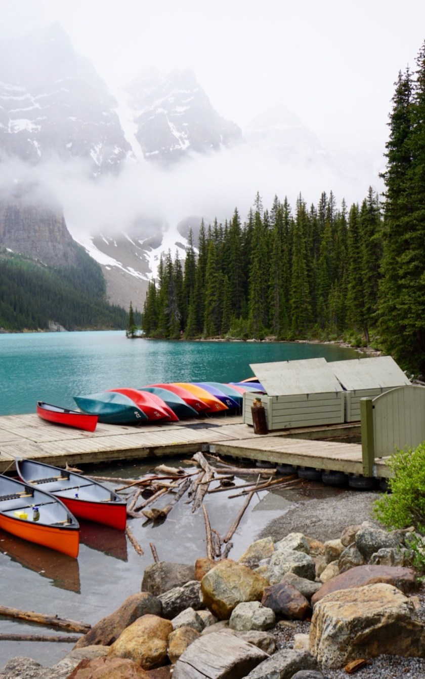 Canoes at Moraine Lake in Banff