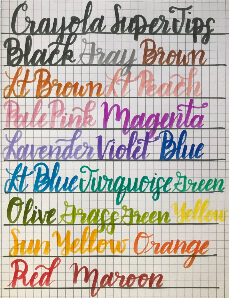 Crayola Super Tips Markers 20 Pack Calligraphy example