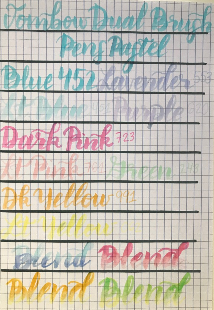 Tombow Dual Brush Pens Pastel Palette calligraphy example