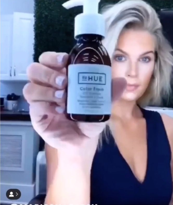 Madison Lecroy using  dpHue Color Fresh Oil Therapy in her hair
