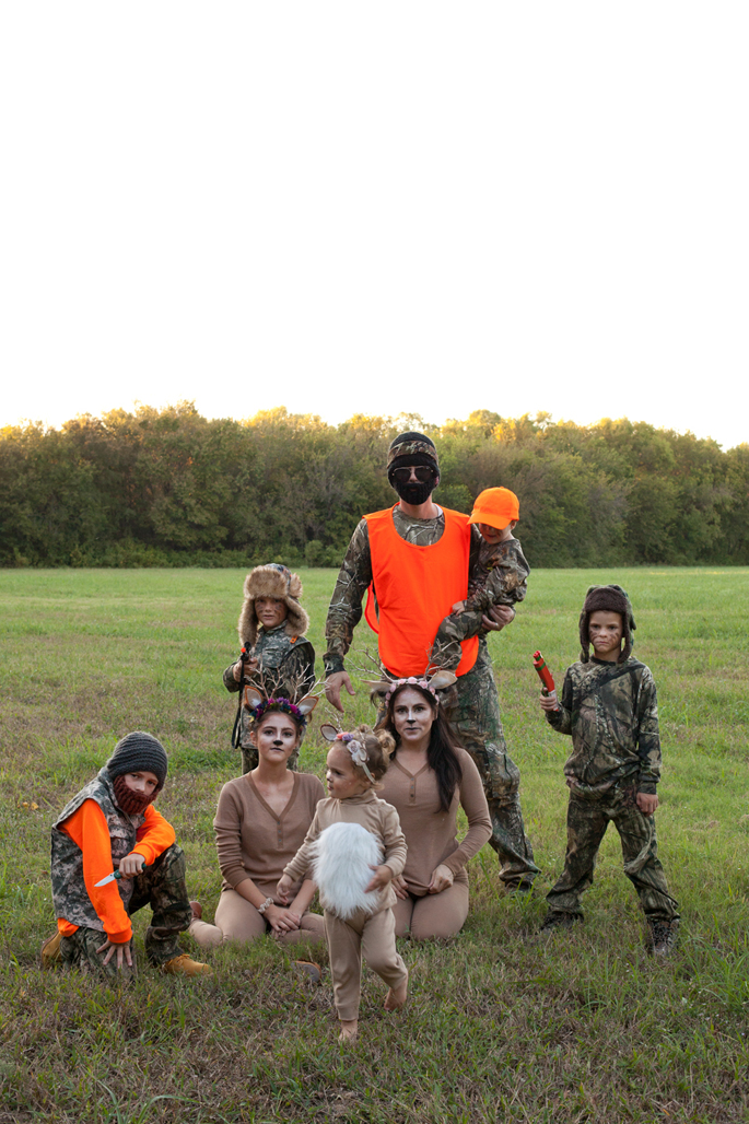 family hunter and deer costume, halloween, antlers
