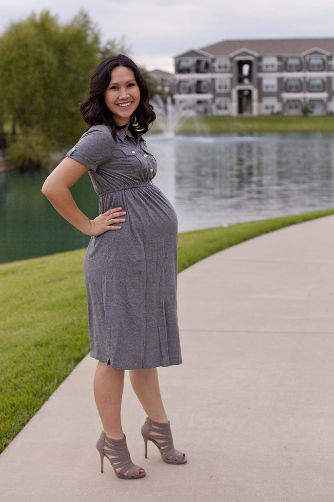 Grey Maternity Dress, Pregnancy
