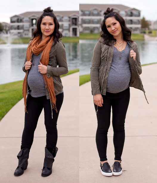 Black Leggings, Army Green Jacket, Scarf, Black Boots, Maternity Fashion, Pregnancy