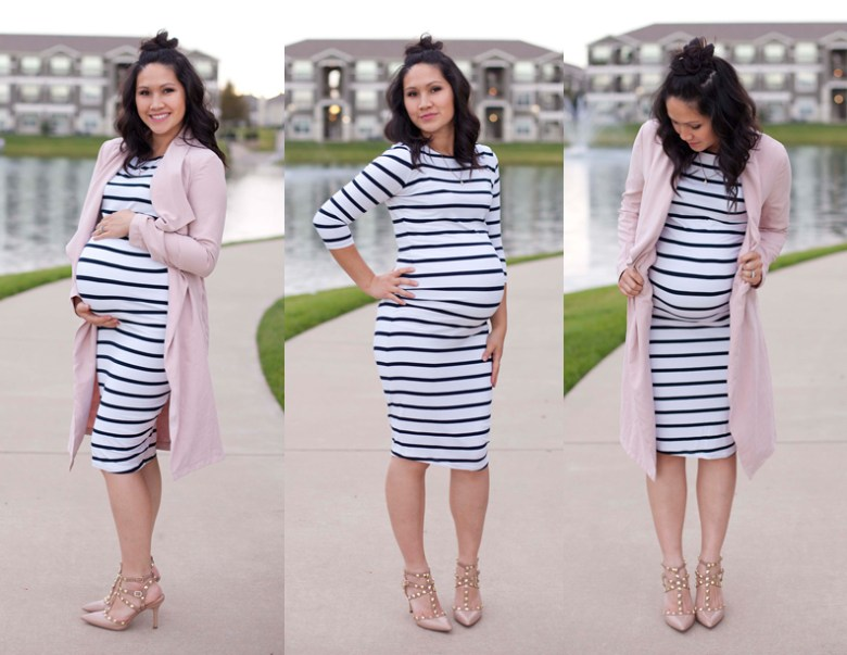 White and Navy Stripe Stretch Dress, Pink Trench Coat, Valentino Shoes, Maternity, Pregnancy