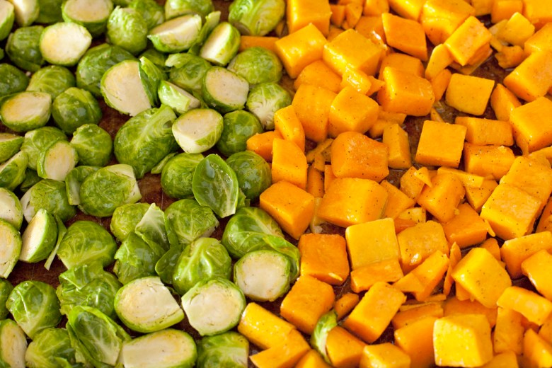 Easy & simple roasted brussels sprouts and butternut squash