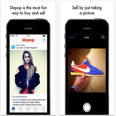 Graphic explaining Depop and showing visuals on the iPhone