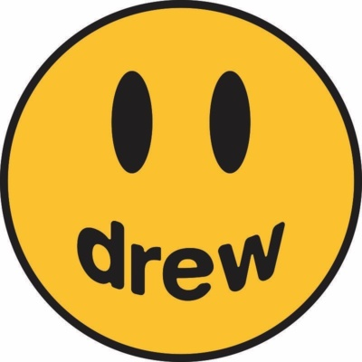"""Drew Logo: yellow smiley face with the words, """"drew"""" written across the mouth"""
