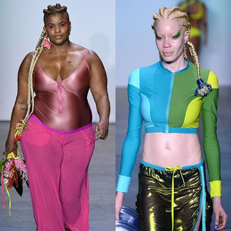Two models from Chromat's runway with dreadlocks. One model has flowers hanging from the ends and the other has a recycled plastic water bottle shaped into a flower hanging from the ends. This goes hand in hand with Chromat's theme of sustainability.