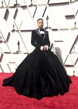 Billy Porter in his Christian Siriano gown on the red carpet.