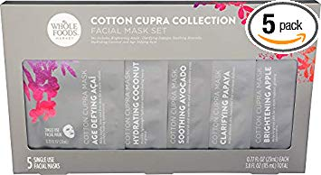 Cotton Cupra Collection sold at Whole Foods and on Amazon consists of 5 face masks, the brightening apple brightens your skin, clarifying papaya diminishes impurities, and the soothing avocado nourishes your skin