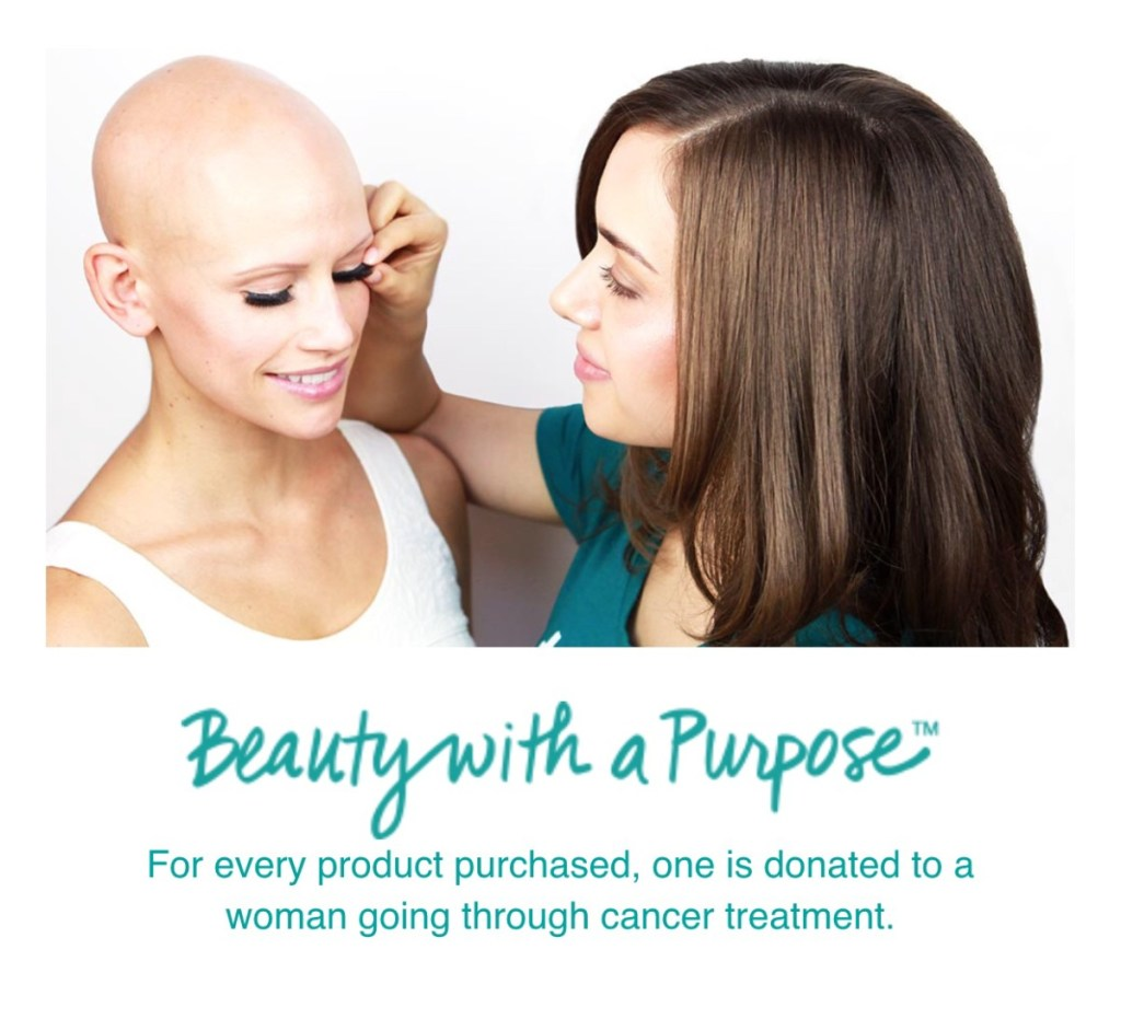 Founder of Thrive Causemetics, applying makeup on a female cancer patient