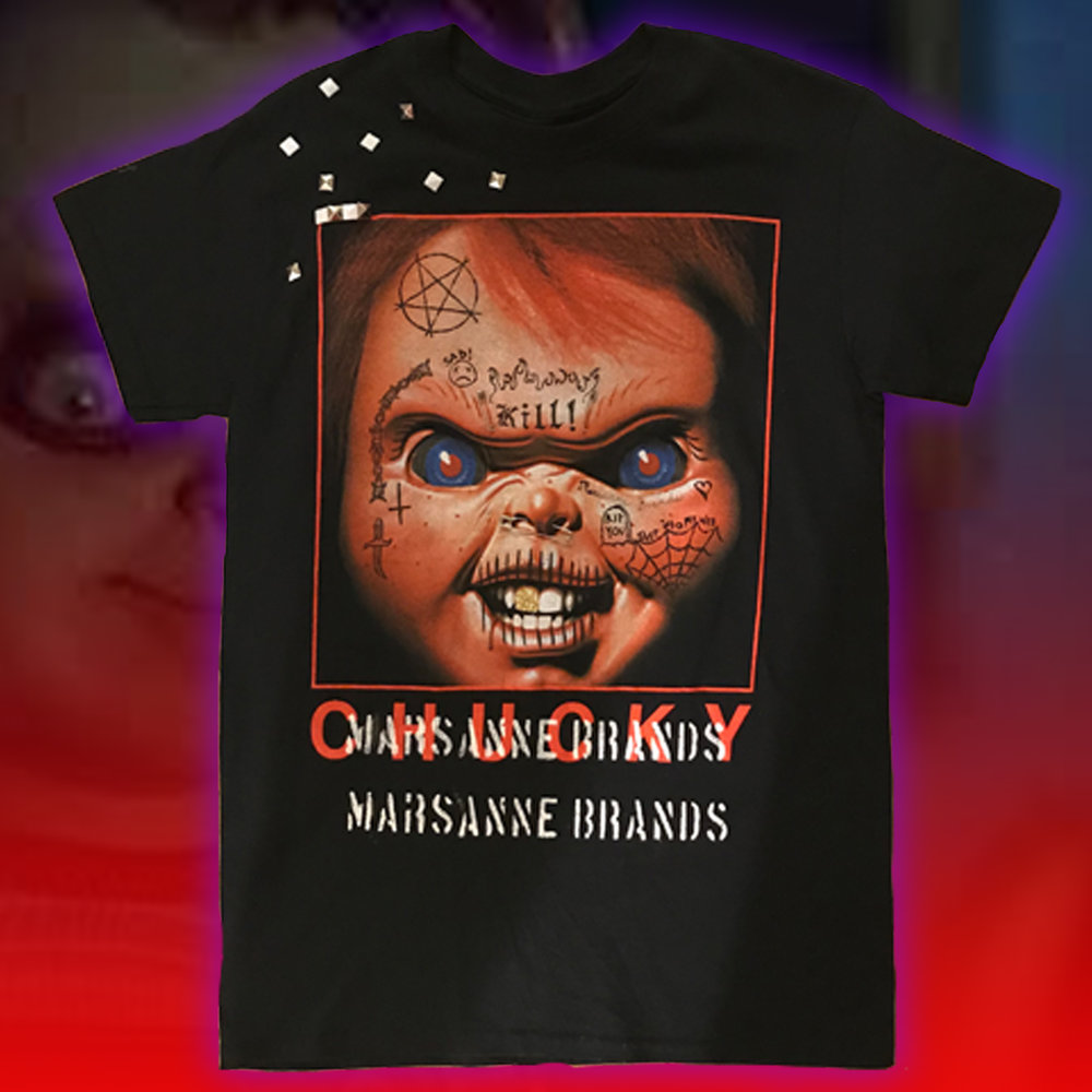 Black Tee Shirt with Scary Chucky on it