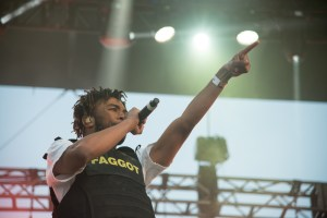 "Kevin Abstract wearing ""Fagg*t"" vest"