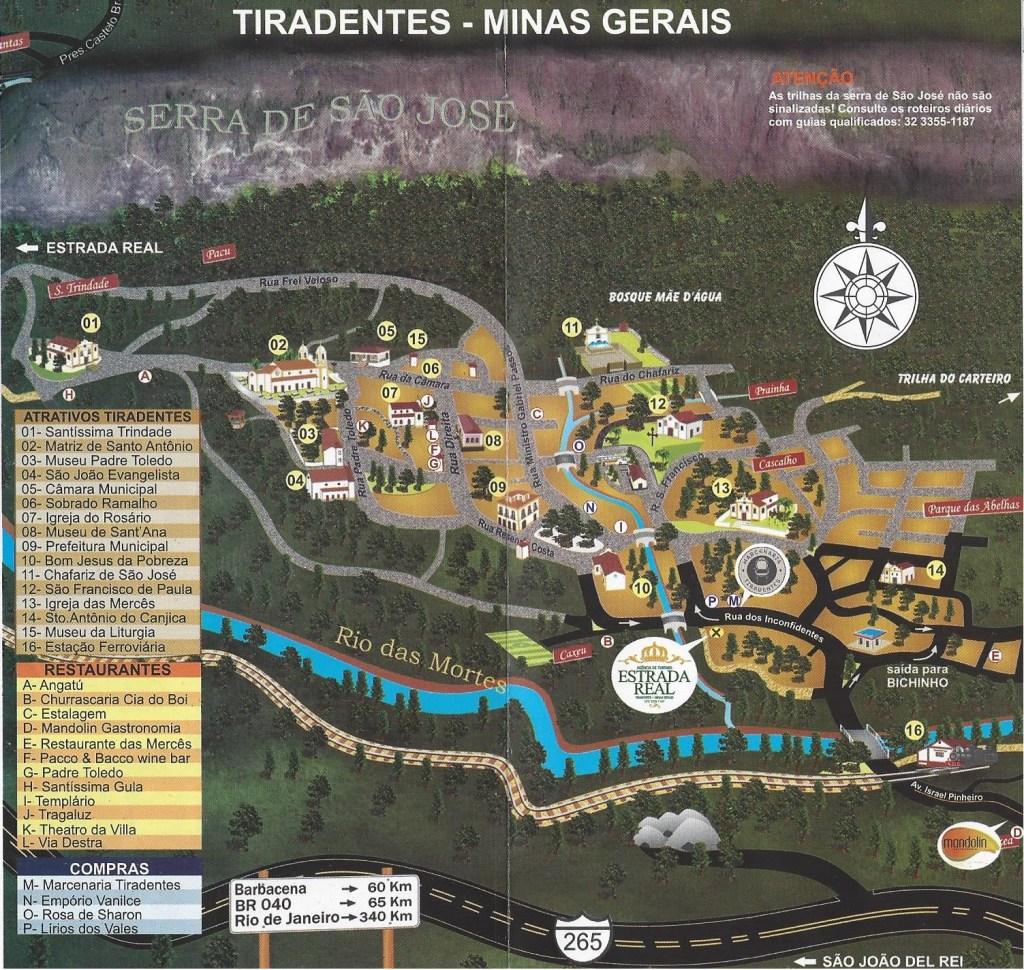MAPA DE TIRADENTES MINAS GERAIS