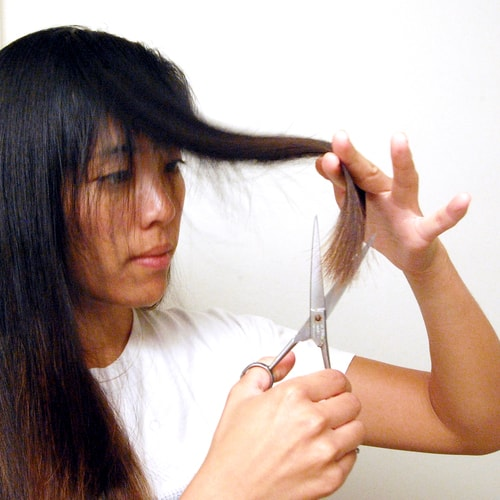 how to cut your long hair at home