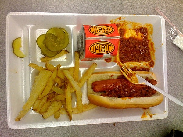 School cafeteria lunches at its worst. 15