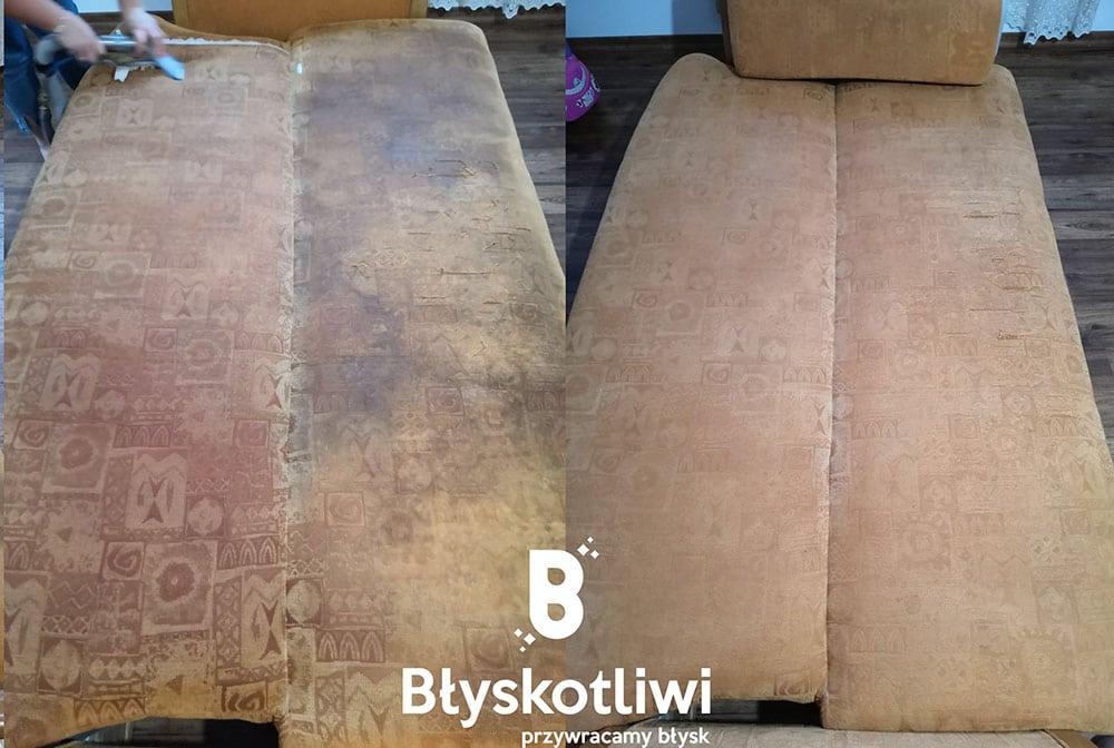 pranie tapicerki wersalka przed i po