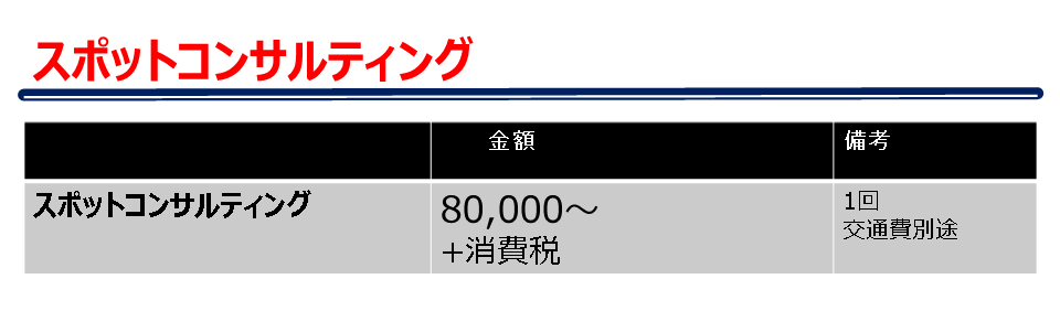 スポットコンサルティング料金表