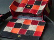 Handtasche, Patchwork aus feinem Wollfilz, genäht