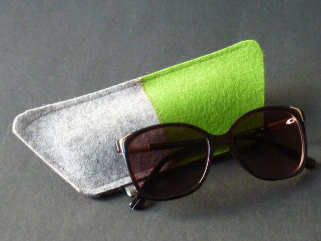Brillenetui aus Wollfilz in Trapezform