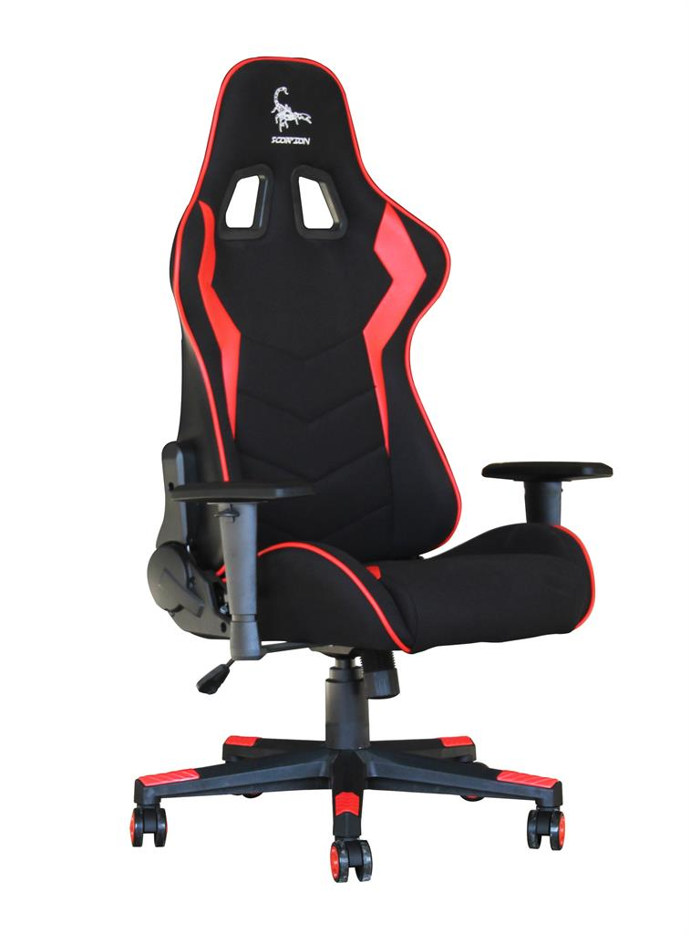 Gembird Gaming Chair SCORPION BlackRed Mesh Red Skin