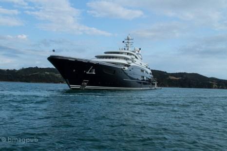 Superyacht Serene off Omaru Bay Waiheke