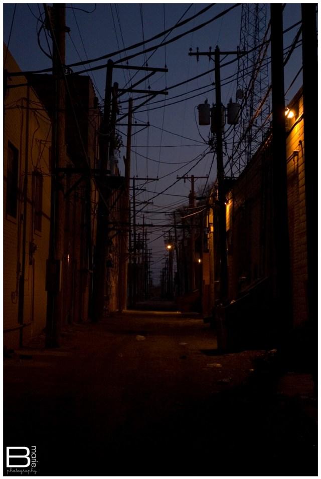 Nacogdoches photographer dark alley representing self doubt