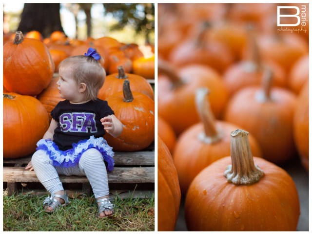 Nacogdoches family portraits with little girl in pumpkin patch