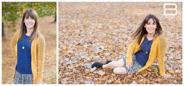 Nacogdoches photographer SFA senior portraits with fall leaves