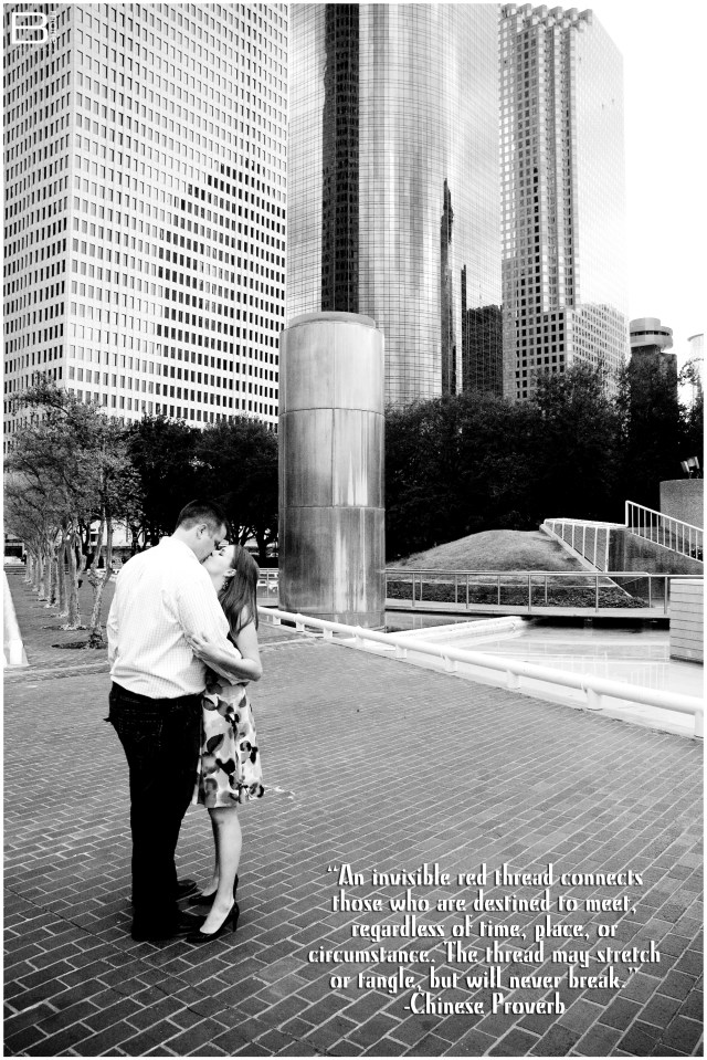 Nacogdoches photographer black and white engagement photo in downtown Houston with Chinese Proverb