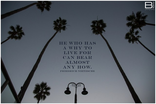 Nacogdoches photographer image of silhouetted lamppost and palm trees with quote by Friedrich Nietzsche