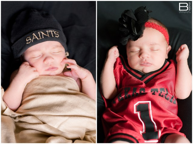 Nacogdoches photographer newborn portraits of my daughter in Texas Tech and New Orleans Saints gear