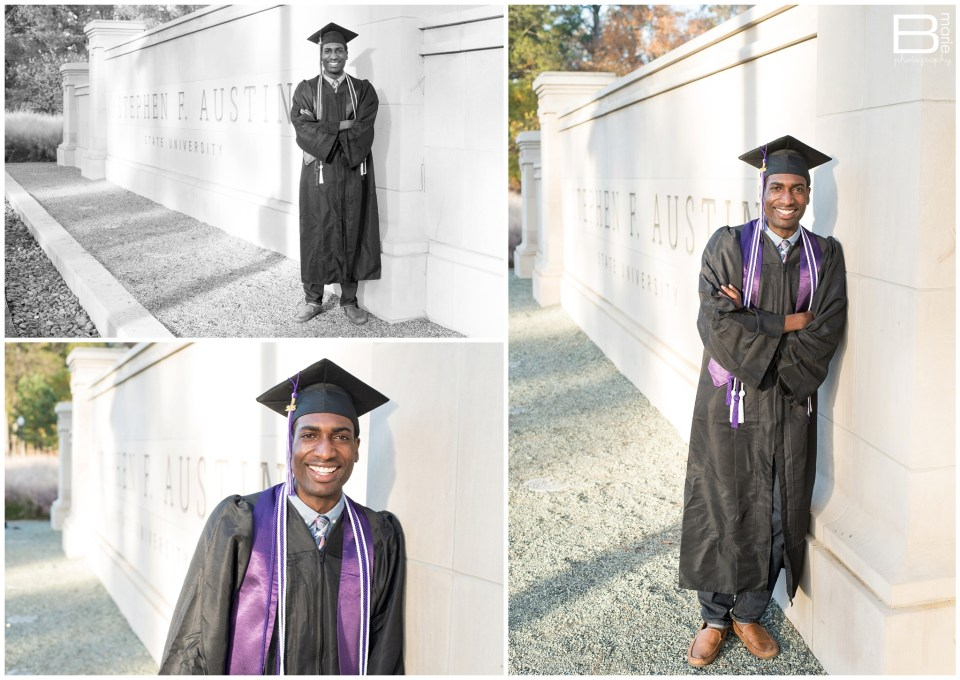 Nacogdoches photographer senior portrait session with SFA graduate on campus